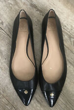 Tory Burch black leather pointed flat shoes size 11 M Preowned
