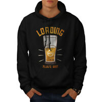 Wellcoda Beer Loading Mens Hoodie, Wait for Drink Casual Hooded Sweatshirt
