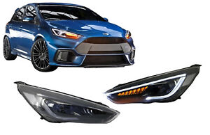 Fari Fanale LED DRL per Ford Focus III Mk3 15-17 Bi-Xenon Look Dynamic Flowing
