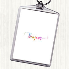 Bonjour Rainbow Quote Bag Tag Keychain Keyring