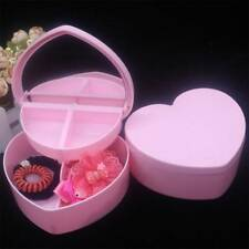 Children Kids Love Heart Shape Cosmetic Jewelry Storage Box with Mirror