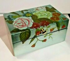 Silver Blue Jewelry Box with Flowers