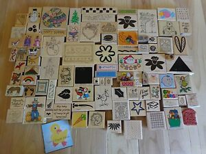 RUBBER STAMPS Lot of 97 Wood Mount Animals Snowmen Holidays Flowers Kids