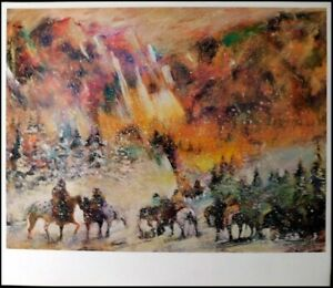 """Earl Biss """"Autumn Storm on the Crazy Mountain"""" HAND SIGNED poster Make an Offer!"""