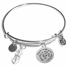 Comes in a Gift Box! Religious, Message Charm Expandable Bangle Bracelet,