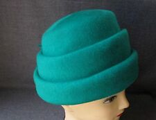 Vintage Pleatted With Bows Green 100% Wool Felt Neumann Endler Hat Fascinator
