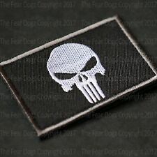 The Punisher Patches Badges Hook Loop Style Comic Book White Black Velcro Back