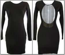 Topshop Bodycon Dress 4 Black Chain Open Back Mini UK8 EUR36