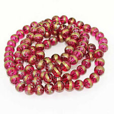 25 Glass Beads 8mm Cranberry Red pink with Copper and Silver Tones - Bd300