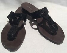 Womens Black Slides Sandals Size 38 Charles & Keith Woven Flip Flops