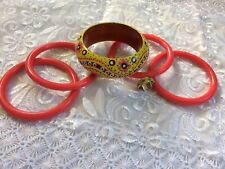 """HAND PAINTED WOODEN BANGLE W/ 4 PLASTIC BANGLE BRACELETS  &  RING"