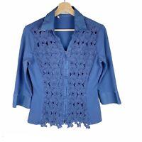 NARACAMICIE ITALY Blouse Top Zip Shirt Crochet Detail Size US 6 Blue