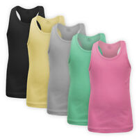 Girls Racer Back Cotton Vest Top Children Kids Ribbed Strappy Sleeveless T-shirt