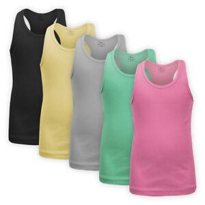 Girls Racer Back Cotton Vest Top Children Kids Ribbed Strappy Sleeveless T-shirt