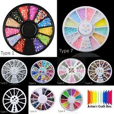 New Wheel Nail Art 3D Rhinestone Glitter Gems Decoration Charms, UK Seller