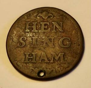 RARE HENSINGHAM COLLIERY TOKEN LOWTHER COAT OF ARMS c.1725 CUMBERLAND