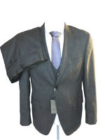 Abito uomo sartoriale CUSERI 3 pezzi grigio medio gessato, in misto lana, DROP 6