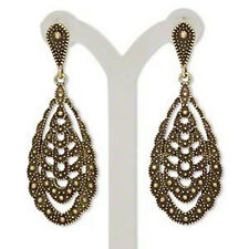 Brass Steampunk Jewelry Teardrop Earrings Boho Antiqued