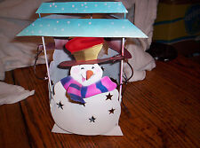 """Snowman Candle Holder 3 Sided Painted Tin With Hanging Loop Height 10"""" Width 5"""""""