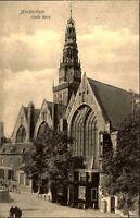 AMSTERDAM Holland AK um 1918 Oude Kerk Kirche Außen-Ansicht Straßen Partie