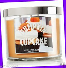 Bath & Body Works PUMPKIN CUPCAKE Scented 3-Wick Filled Candle 14.5 oz
