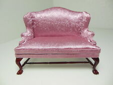 Dollhouse Miniatures Furniture 1/12: 20210mh Upholstered Mahogany Settee