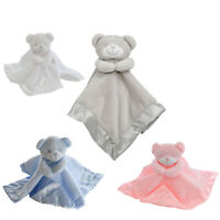 BABY BOY GIRL SOFT TOUCH TEDDY BEAR COMFORTER BLANKET SATIN PINK BLUE WHITE UK