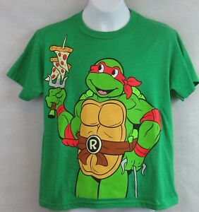 Ninja Turtle Boys T-Shirt Pizza is Life New Green Officially Licensed Raphael