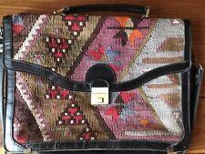 Vintage Kilim Black Leather Briefcase/Attache Case