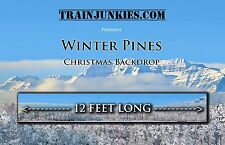 "Train Junkies O Scale ""Christmas Village"" Vinyl Railroad Backdrop 144""x24"""