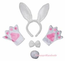 Easter Party Pure White Bunny Rabbit Unisex Adult Headband Paw Tail Bow Costume