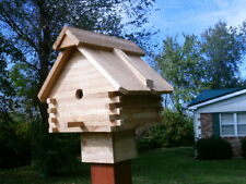 bird house - cedar  log house look - With 4x4 post mount
