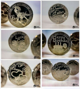 Lucky Coins Engraved Sentimental Good Luck Father Mother Birthday Gift Keepsake