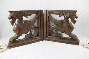PAIR antique black forest wood carved Chimaera Griffin mythological figurine