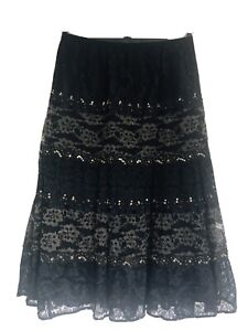 BNWT Beautiful Black & Gold Lacy Layered Look Flamenco Style Long Skirt Size 12