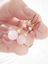 long drop earrings, 9k 375 9ct gold pair of rose quartz
