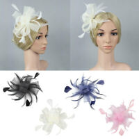 Derby Sinamay Flower Feather Fascinator Cocktail Headband Clip Wedding Party