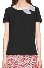 "Kate Spade NY NWT ""Bow Tee Broome St."" Black T-Shirt Size Small Retail $85."