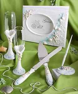 Beach Theme Wedding Set Guest Book ,Pen, Champagne Flutes Cake & Knife server