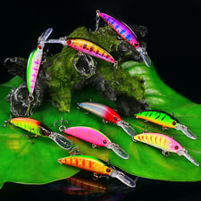 9pcs Minnow Sinking Fishing Lures Bass Crankbait Hooks Tackle Crank Bait 9colors