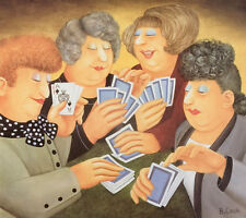 Beryl Cook A FULL HOUSE Signed Limited Edition, Humour Cute Poker Bridge Art Fun