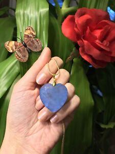 NATURAL DEEP BLUE TANZANITE NECKLACE PENDANT HEART SHAPE, TANZANIA 18K GOLD 925S