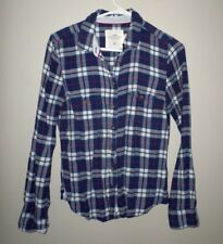 H&M juniors size 8 plaid flannel shirt w/ spandex Lumberjack sexy grunge
