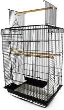 "PawHut 22"" H Steel Parrot Bird Cage Open Play Top Perch Feeding Bowl - Black"