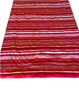 wamsutta Bedspread Twin Soft Vibrant Stripes Reversible Pink White Yellow Drop