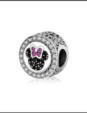 Disney Mickey & Minnie Mouse Head Diamanté Bead. Fits Most Bracelets. BN