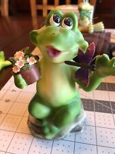 Frog With Flowers And Dragonfly Figurine