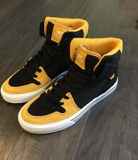Supra Vaider Black Gold White Skate Skateboard Shoes Sneakers Men's Size 9