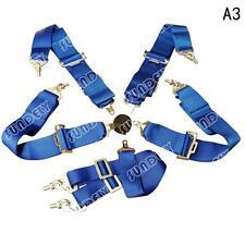Blue A3 Seat Belt 6Point Racing Harness Kit Quick Release Track /Race/ Drift Car