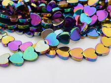 """Rainbow multicolore non-magnétique hématite coeur perles 10mm - 15.5"""" strand"""